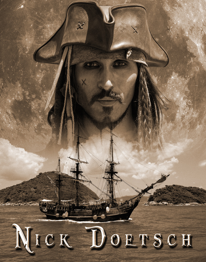 Captain Jack Sparrow as played by Johnny Depp lookalike Nick Doetsch